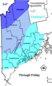 Expected Snowfall Before The Change To Mix/Rain