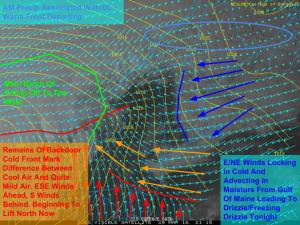 Afternoon Observations Showing The Setup For Wintry Weather Tonight Into Tomorrow. Image Credit: COD