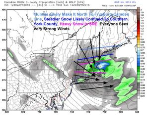 12Z RGEM Showing The Setup Tomorrow Morning. We're On The Edge Of This One. Image Credit: Weatherbell