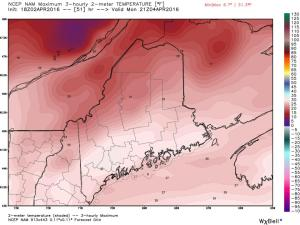 18Z NAM Showing Temps Barely Getting To Freezing Monday. Image Credit: Weatherbell