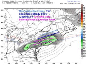 12Z RGEM Showing The Setup Tomorrow Morning With Light Snow. Image Credit: Weatherbell