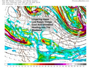 12Z GFS Showing An Upper Low Lingering Over The Area Next Weekend. Image Credit: Accuweather