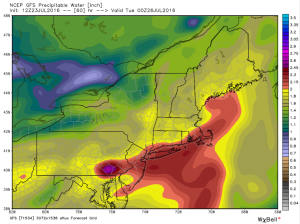 GFS Showing A Juiced Atmosphere Monday. Image Credit: Weatherbell