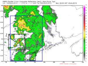 HRRR Showing A Band Of Showers With Embedded Thunderstorms/Downpours. Image Credit: Weatherbell