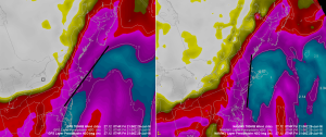 12Z NAM (Right) vs 12Z GFS (Left) Both Showing Available Moisture (PWAT)