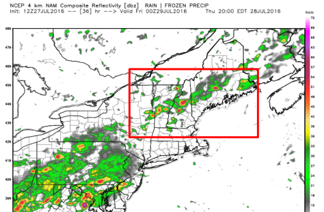 12Z 4kNAM Showing Scattered Storms Tomorrow Afternoon. Image Credit: Weatherbell