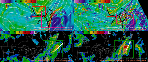 A Comparison Of The 12Z NAM (Right Panels, Wet Solution) And The 12Z GFS (Left Panels, Dry Solution).