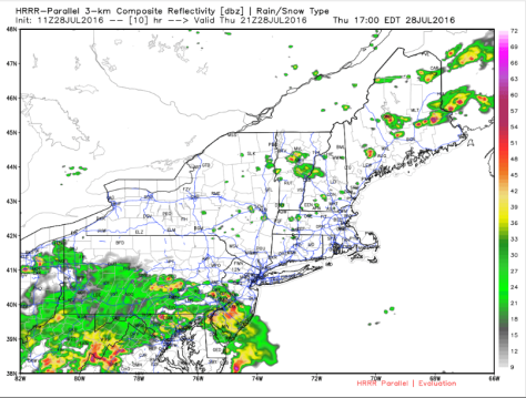 HRRR Showing What The Radar Could Look Like Early This Evening. Credit: Weatherbell
