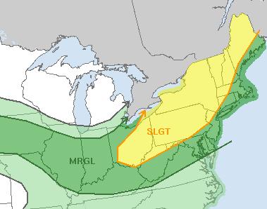 SPC Forecast For Tomorrow. Credit: SPC.