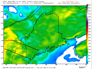 Hi-Res NAM Showing Modest Instability With More Unstable Air Moving In From The West. Image Credit: Weatherbell