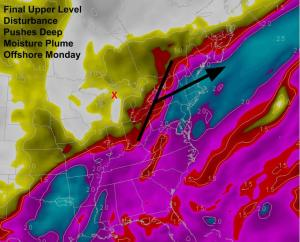 12Z GFS Showing The Moisture Plume Being Forced Offshore Monday