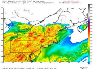 12Z 4km NAM Showing Plenty Of Fuel For Storms Tomorrow. Image Credit: Weatherbell