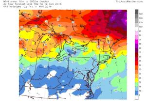 12Z GFS Showing Sufficient Shear For Storm Organization. Image Credit: Accuweather