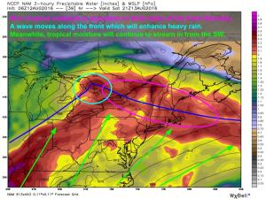 6Z NAM Showing The Setup For Heavy Rain Saturday. Image Credit: Weatherbell