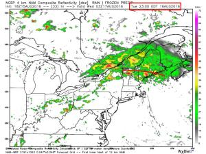 12Z 4km NAM Showing One Idea As To How The Storm Could Play Out Tomorrow. Image Credit: Weatherbell