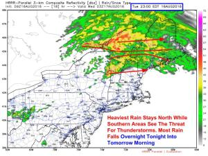 HRRR Showing One Idea Of The Situation Tonight At 11 PM. Image Credit: Weatherbell