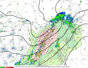 4PM Middle Atmosphere (850mb) Analysis Showing A Plume Of Moisture Headed Our Way. Image Credit: SPC Mesoanalysis