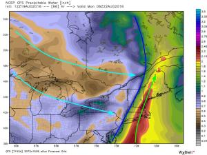 12Z GFS Showing Tropical Moisture Streaming North And Dry Canadian Air Streaming South Sunday Night. Image Credit: Weatherbell