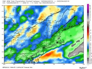 12Z GEM Showing The End Result Of Sunday Night's Rains. Image Credit: Weatherbell