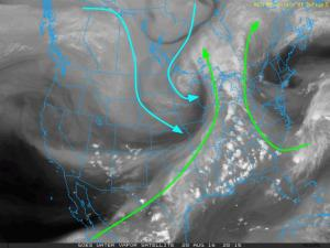 Current 4:30 PM WV Satellite Showing The Setup For Sunday Night. Image Credit: COD