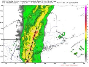 HRRR With An Idea Of What The Radar Might Look Like Early Tomorrow Morning. Image Credit: Weatherbell