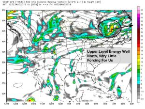 12Z GFS Showing A Weak Upper Level Setup Thursday Night. Image Credit: Weatherbell