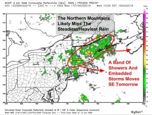 12Z 4km NAM Giving An Idea Of What The Radar Could Look Like Tomorrow Afternoon. Image Credit: Weatherbell