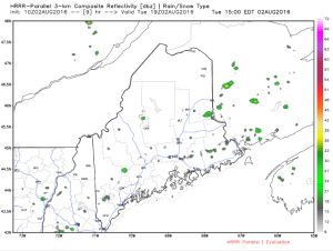 HRRR Model Showing Widely Scattered Showers Across Maine And New Hampshire This Afternoon. Credit: Weatherbell