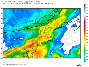 12Z NAM Showing A Slow Front And Plenty Of Instability. Image Credit: Weatherbell