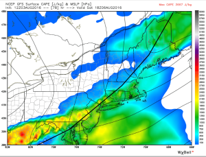 12Z GFS Showing A Fast Front And Little Instability. Image Credit: Weatherbell