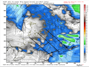 12Z GFS Showing Breezy NW Winds Drawing Cool, Dry Air In From Canada. Image Credit: Weatherbell