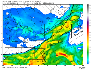 12Z NAM: Slower Front, More Fuel. Image Credit: Weatherbell