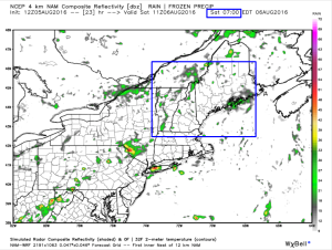 12Z 4km NAM Showing Scattered Light Showers Early Tomorrow Morning. Image Credit: Weatherbell