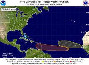 2PM NHC Tropical Weather Outlook. Credit: NHC