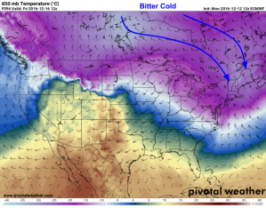 12Z Euro Showing Deep Cold Air Flooding Into The Area On Biting NW Winds Friday Morning. Image Credit: Pivotal Weaher