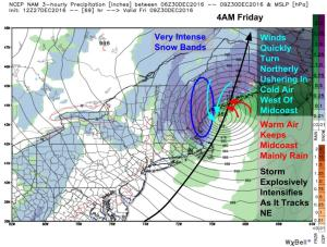 12Z NAM Showing The Storm At Its Peak Friday Morning. Image Credit: Weatherbell