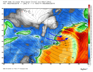 NAM Model Showing Two Rounds Of Strong Winds Thursday Night. Image Credit: Weatherbell