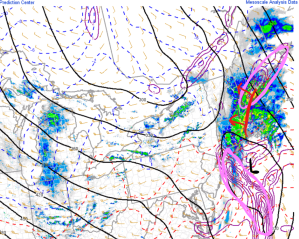 6PM Mid Level Frontogenesis/Radar Showing Development Of Heavy Precip Bands. Image Credit: SPC Mesoanalysis