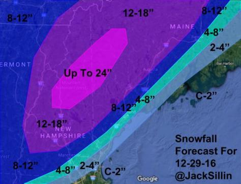 Snowfall Forecast For Thursday Afternoon Through Friday Afternoon