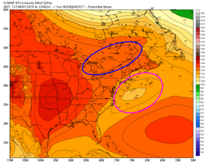 Euro EPS Showing Signals For Potential Coastal Activity Late Week. Image Credit: Weatherbell
