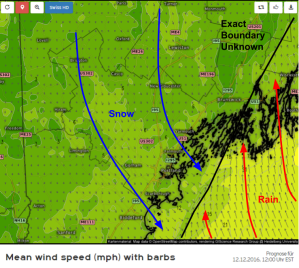 Swiss HD Model Showing A Sharp Coastal Front Tomorrow Morning. Credit: Kachelmann