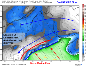 6Z NAM Showing Uncertainty In Position Of Coastal Front (Rain Snow Line). Credit: Weatherbell