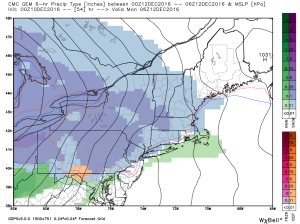 0Z GEM Showing Light Snow Arriving Late Tomorrow Night. Credit: Weatherbell