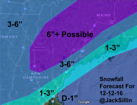 Snowfall Forecast For Tomorrow's Event