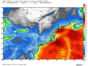 12Z NAM Showing Intense NE Winds Late Thursday  Night. Credit: Weatherbell