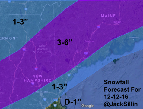 Forecast Snowfall Sunday Night-Monday.