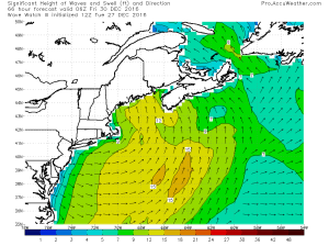 Wave Watch III Model Showing Rough Seas. Credit: Accuweather