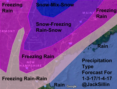 My Forecast For Precipitation Type Tuesday Night Into Wednesday Morning.