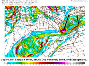 12Z GFS Showing The Weak Upper Level Dynamics Early Wednesday Morning. Image Credit: Accuweather