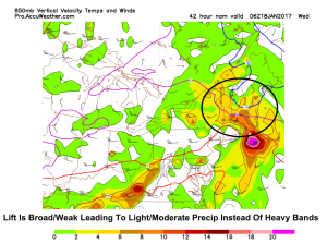 Upward Motion Map Showing Broad/Weak Lift Wednesday Morning. Image Credit: Accuweather